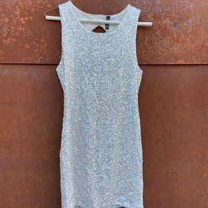 H&M silver sparkle mini dress